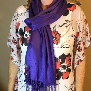 Purple charming Charlie's silky scarf.
